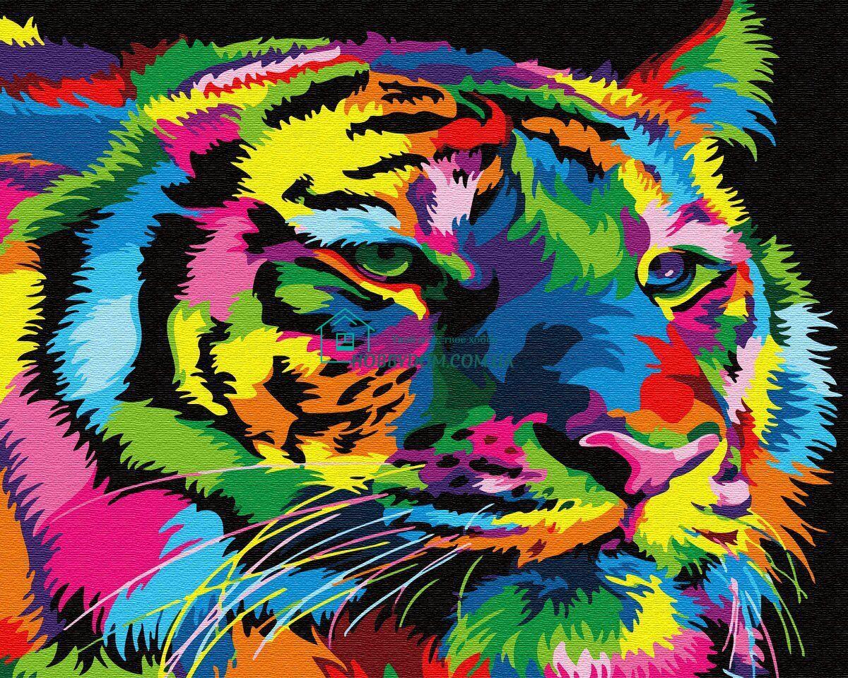 BK-GX31949 Картина-раскраска по номерам Радужный тигр ТМ ...