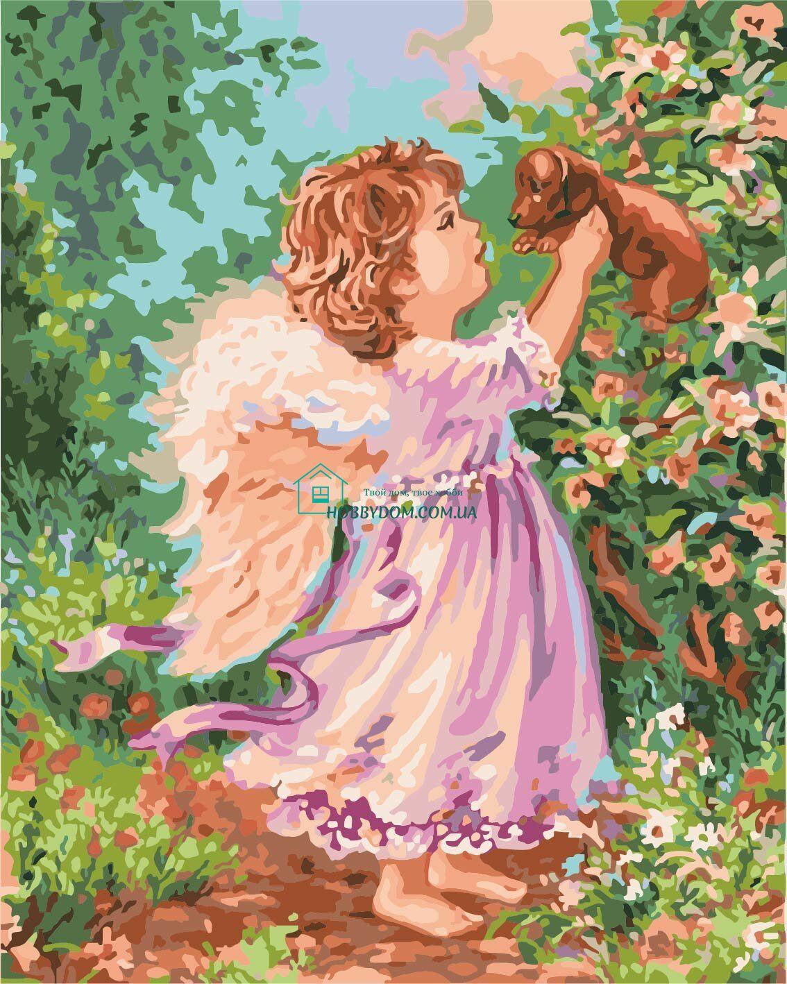 КНО2314 Раскраска по номерам Ангел с щенком ТМ Идейка 265 ...