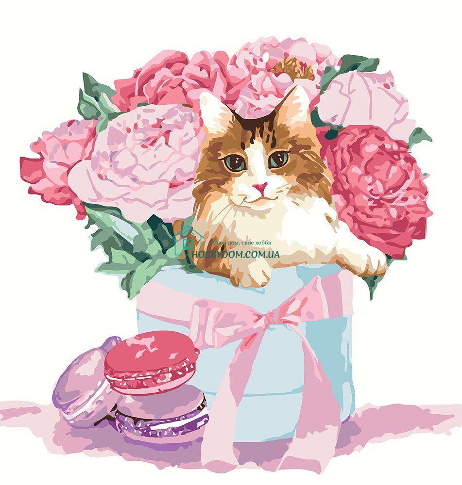 KHO4173 Картина-раскраска Подарок с цветами ТМ Идейка 234 ...
