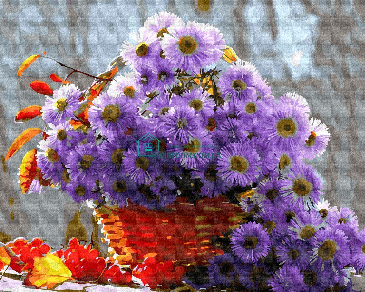 BK-GX31586 Картина-раскраска по номерам Сиреневые цветы в ...