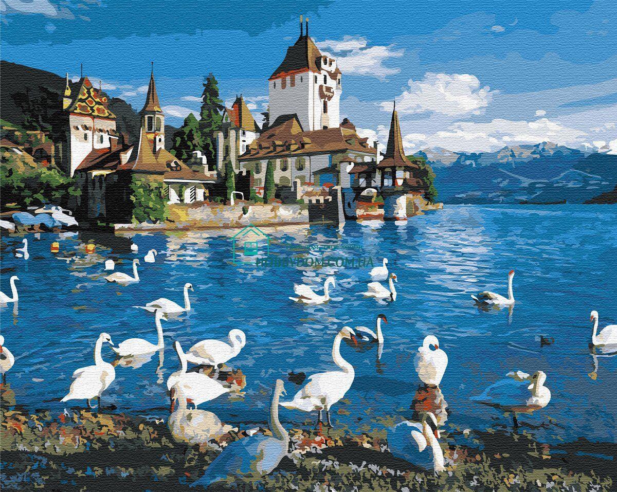 BK-GX32276 Картина-раскраска по номерам Лебеди на озере ...