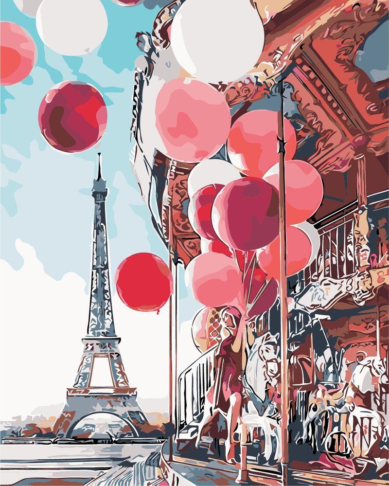 As0148 раскраска по номерам французская карусель