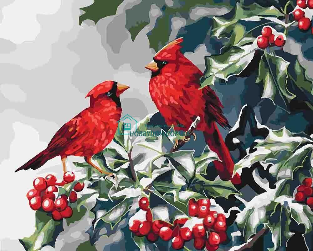 КНО4087 Раскраска по номерам Рождественские птички ТМ ...