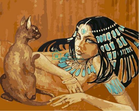 VP424 Раскраска по номерам Египтянка с кошкой. худ Фаттах ...